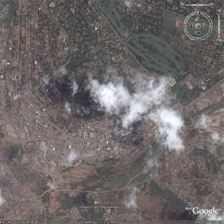 Aerial photo of a cloud over central Kampala