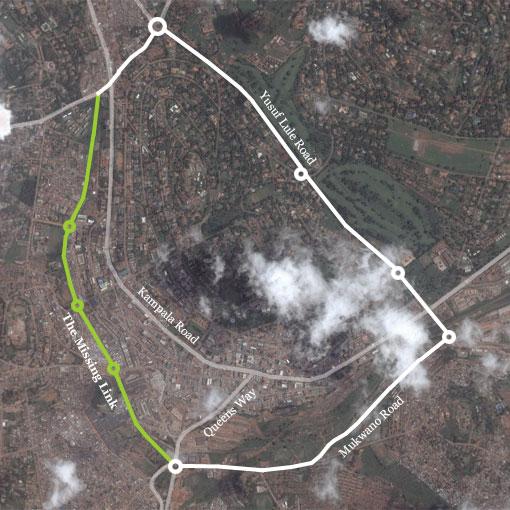Main roads of central Kampala