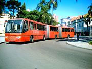 Triple-articulated bus in Curitiba, Brazil