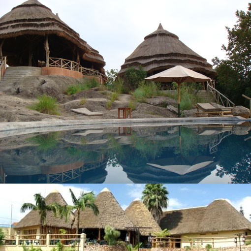 Thatched roofs of Mihingo Lodge (Lake Mburo NP) and Le Chateau Restaurant (Kampala)